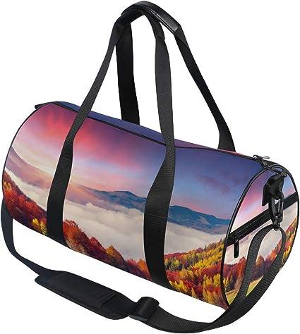 Sports Bag Hello Autumn Leaves Mens Duffle Luggage Travel Bags Kid Lightweight Gym bag