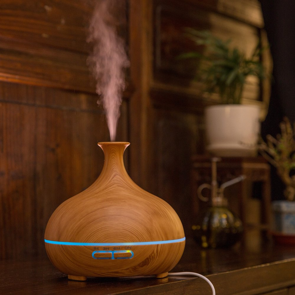 300ml Ultrasonic Cool Mist Humidifier, Aroma Essential Oil Diffuser, 3 Color Options, for Office Home Bedroom Living Room Study Yoga Spa (Wood Grain) by JUNHONG HOUSEHOLD (Image #8)