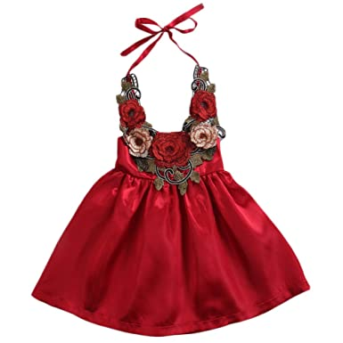 a0bd14ea9 Amazon.com  Baby Girls 3D Embroidery Flower Applique Halter Backless ...