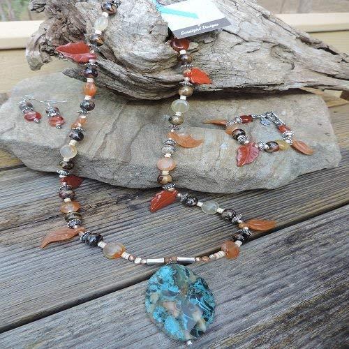 Handmade Jewelry Set - Picture Jasper & Carnelian Leaves Necklace, Bracelet & Earrings