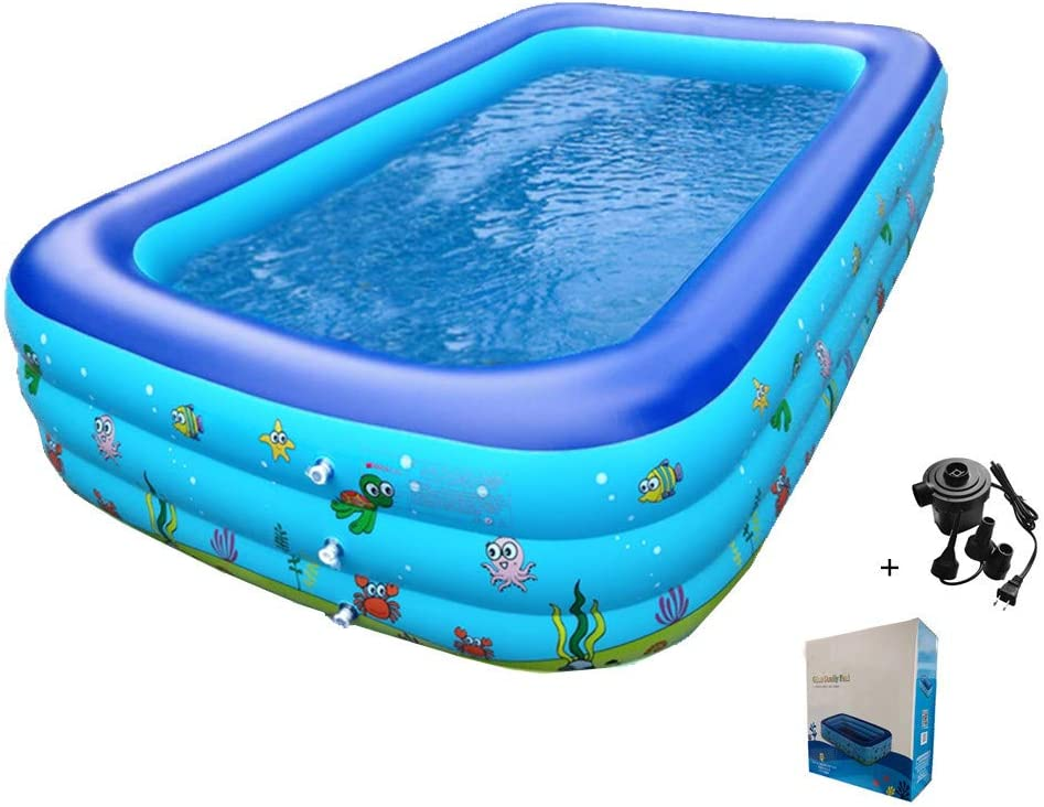 "CASEYDRESS Inflatable Pool, Rectangular Large 120"" X 72"" X 22"" Blow Up Swimming Pool with Air Pump, Above Ground Swimming Center for Adult, Family, Kids, Backyard, Outdoor, Garden, Summer Water Party"