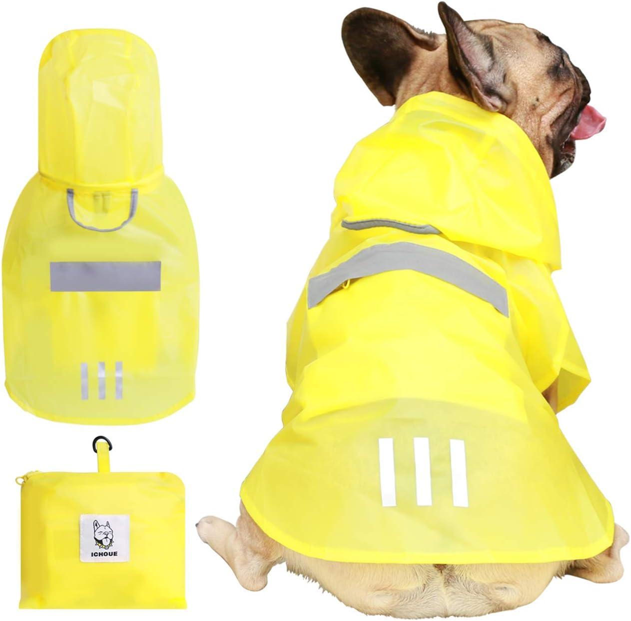 iChoue Dog Raincoat Rain Coat Jacket Poncho Hoodies with Hood Reflective Adjustable Rainwear