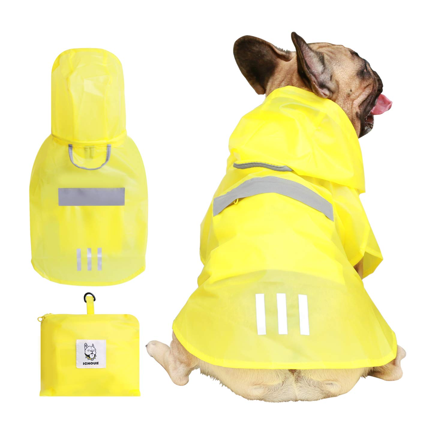 iChoue Dog Raincoat Packable Waterproof Adjustable with Reflective Straps Lightweight Rain Jacket for Large French Bulldog Pug (Yellow, L) by iChoue