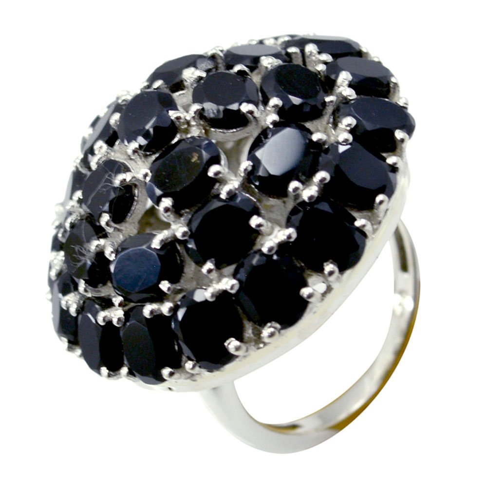 Jewelryonclick Natural Black Onyx Sterling Silver Engagement Rings For Women Fashion Wedding Jewelry Gift