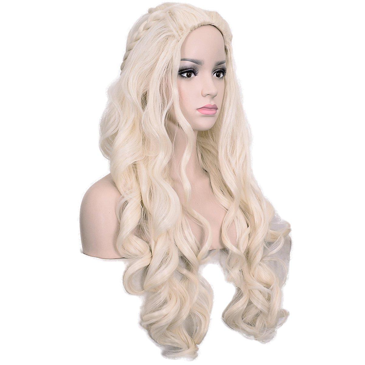 deifor largo rizado pelo sintético Wave con mechones de Daenerys Targaryen disfraz Cosplay Pelucas: Amazon.es: Belleza