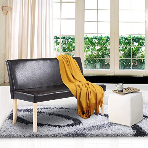 Cloud Mountain Living Room Loveseat Bench Upholstered Mid Century Leisure Contemporary Faux Leather Sofa Comfortable Easy Assembly Living Room Loveseat (Brown) ()