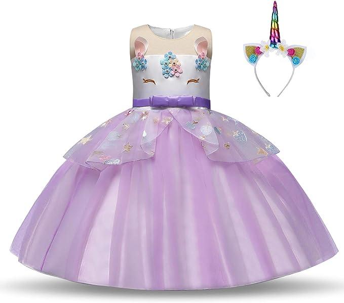 Disfraz de unicornio para niñas, vestido de princesa, disfraz de ...