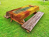 Lunarable Shutters Outdoor Tablecloth, Wooden Window and Old Vintage Orange House in Saint Louis Senegal Classic Home, Decorative Washable Picnic Table Cloth, 58 X 84 inches, Mustard Green