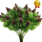 Nahuaa 4PCS Fake Cedar Pine Branches with Artificial Pine Cones Plastic Shrubs Faux Greenery Bushes Bundles Table Centerpieces Arrangements Home Kitchen Office Indoor Outdoor Decorations