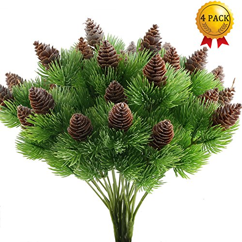 Nahuaa 4PCS Fake Cedar Pine Branches with Artificial Pine Cones Plastic Shrubs Faux Greenery Bushes Bundles Table Centerpieces Arrangements Home Kitchen Office Indoor Outdoor Decorations by Nahuaa