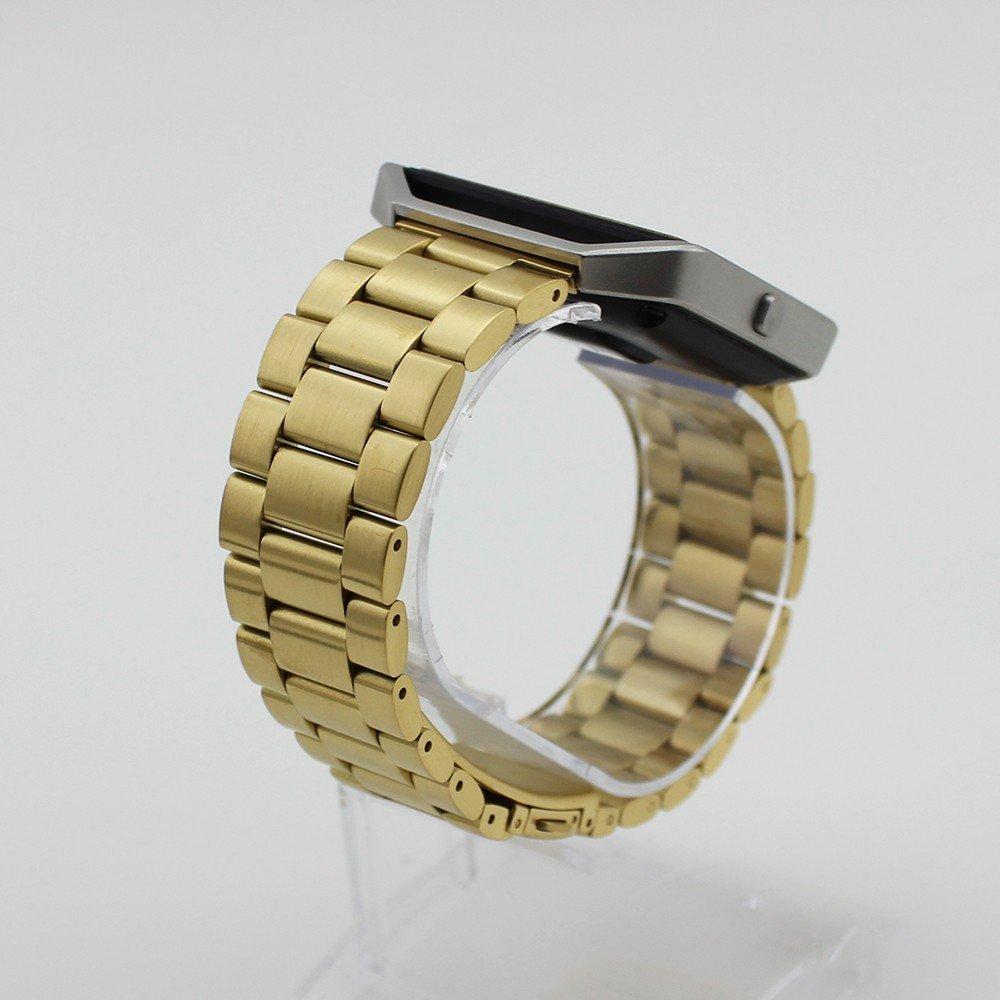 FOTOWELT Fitbit Blaze Banda Accesoria, Acero Inoxidable Negro Sólida Fitbit Blaze Correa Negocio de Repuesto Reloj Banda Pulsera con Herramientas para ...