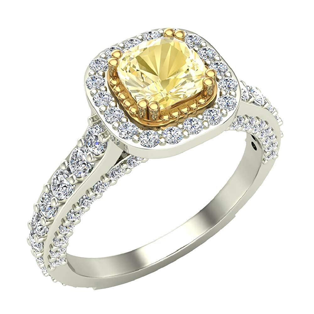 33a1c8f52ef22 Natural Fancy Yellow Cushion Cut Diamond Engagement Ring 1.64 Carat ...