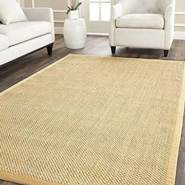 Safavieh Natural Fiber Collection NF443A Hand Woven Maize and Wheat Jute Area Rug, 8 feet by 10 feet (8' x 10')