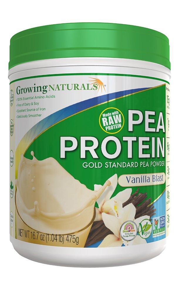 Growing Naturals Pea Protein Powder, Vanilla Blast, 16.7 Ounce