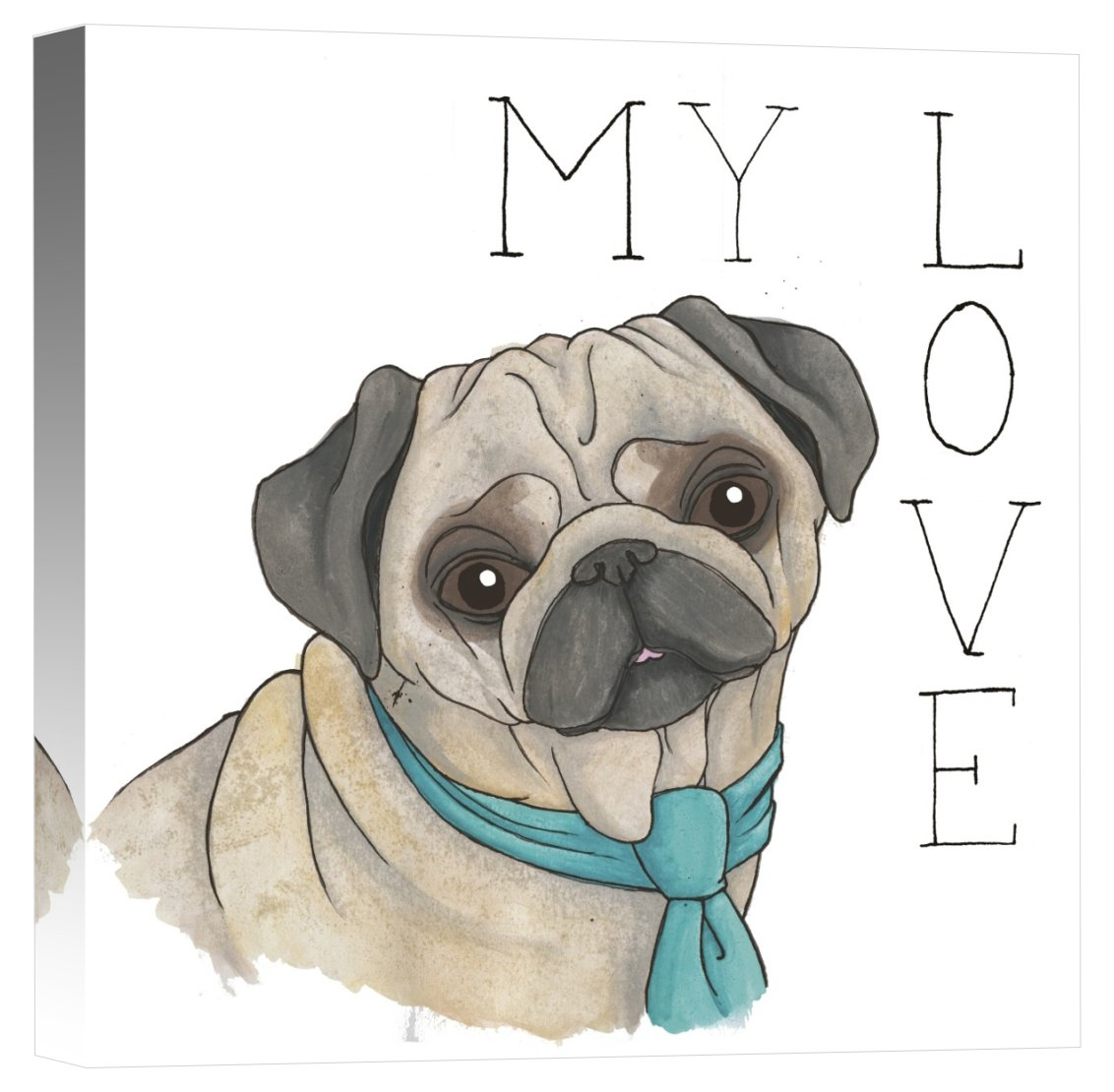 Global Gallery Elyse DeNeige Puppy Love Pug Color Canvas Artwork 18' x 18'