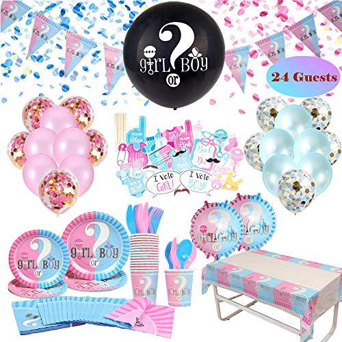 Gender Reveal Party Supplies & Tableware Set (223 Pieces) | For 24 Guests | Complete Gender Reveal Decoration Set with Plates, Spoons, Forks, Napkins, Photo Props, Confetti Balloons, 36 Inch Baby Reveal Balloon, Tablecloth, Pink and Blue Balloons and Much Much More!!!