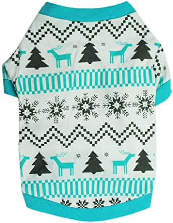 NEARTIME Puppy Clothes, Doggy Outfit Printed Snow Fawn Interlock Christmas Pet Shirt