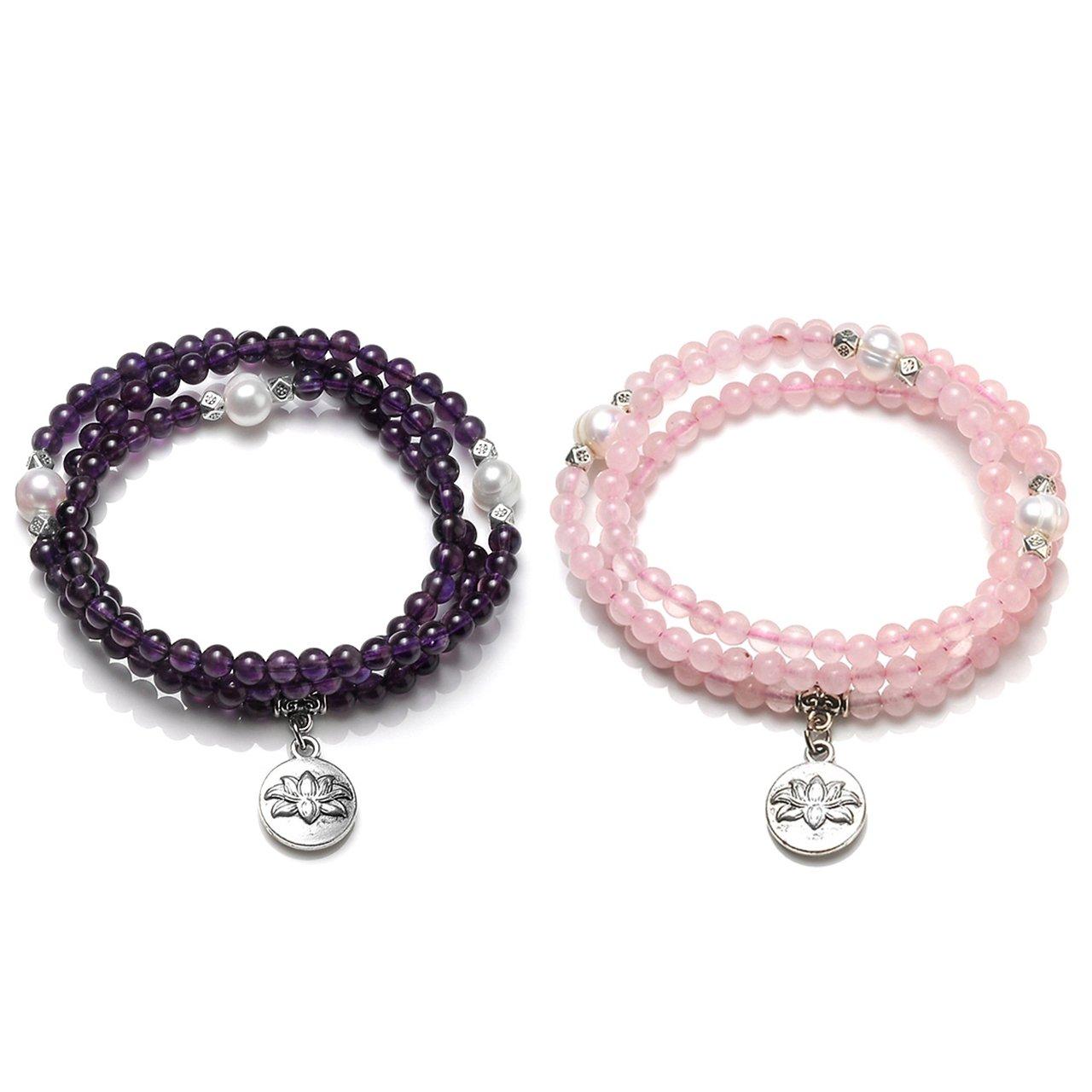 Top Plaza 4mm Tibetan Buddhist Natural Amethyst Rose Quartz Pearl Healing Crystal Gemstone 108 Mala Prayer Beads Stretch Bracelet Necklace with Lotus Charm