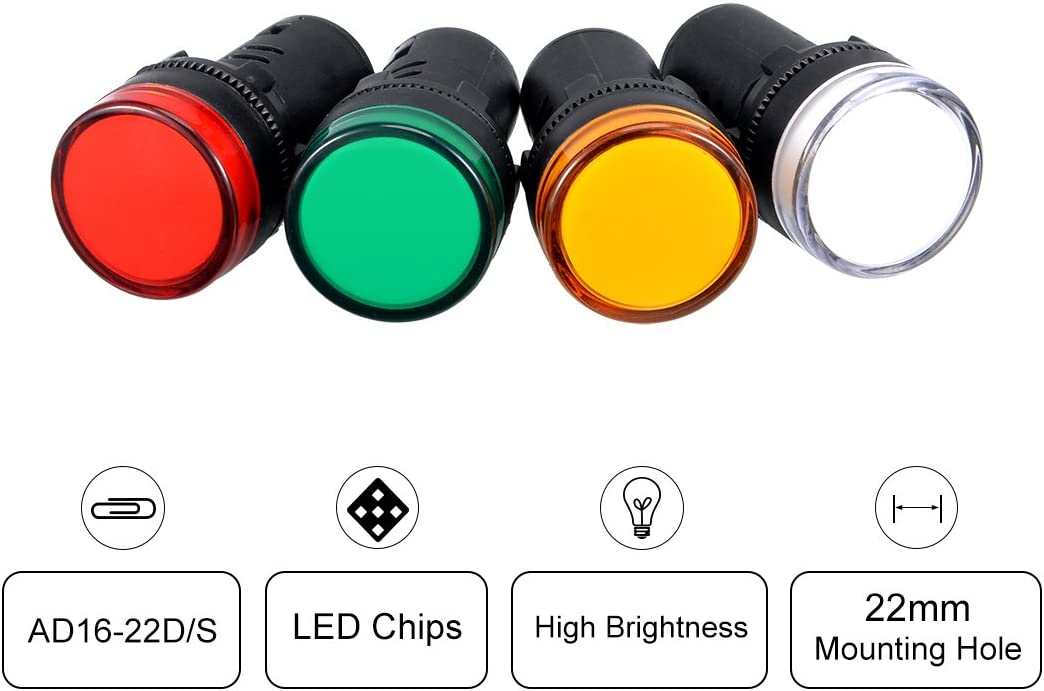 uxcell 4Pcs Red Green Yellow White Indicator Light AC/DC 24V, 22mm Panel Mount, for Electrical Control Panel, HVAC, DIY Projects: Home Improvement