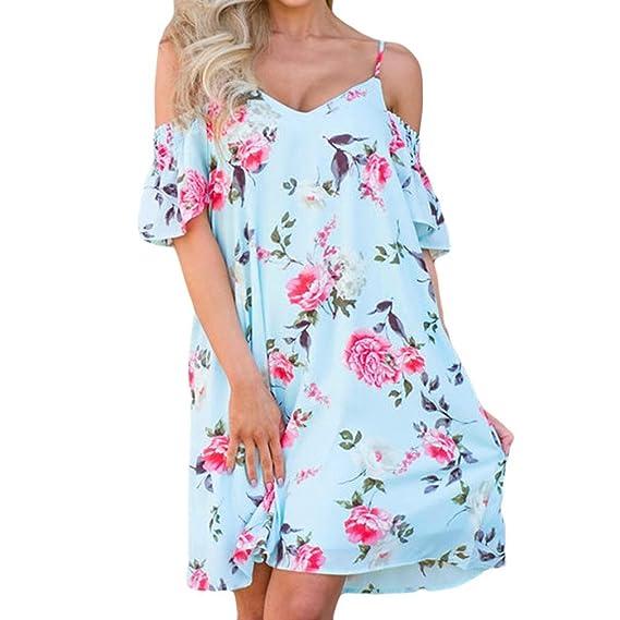 Lunaanco Vestidos de Mujer, vesitdo Verano Vestido Largo,Flor Rosa Fiesta para Bodas Camisetas de Mujer ➼-Vestido Clásico Básico Tela Estampada ...