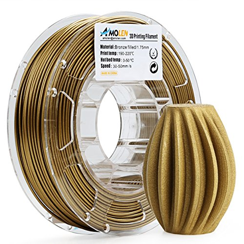 AMOLEN 3D Printer Filament, Frosted Bronze 1.75mm PLA Filament +/- 0.03 mm, 225G/0.5 lbs Spool, Includes Sample Marble Filament - 100% USA by AMOLEN