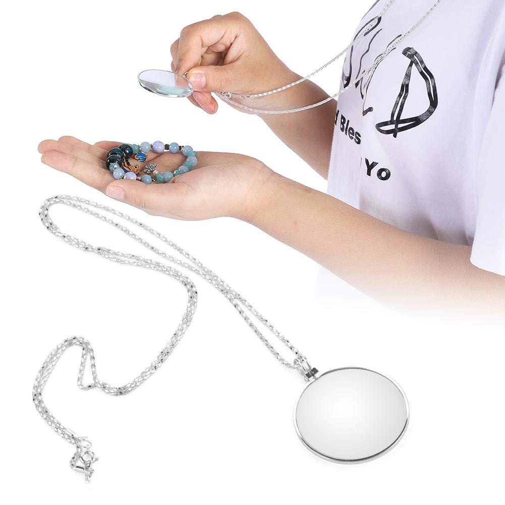 Schmuck h/ängende Lupe Silber tragbare 5X Lupe Monokellinse mit h/ängender Halskette zum Lesen Handwerk Handarbeiten Schmuck Hobbys