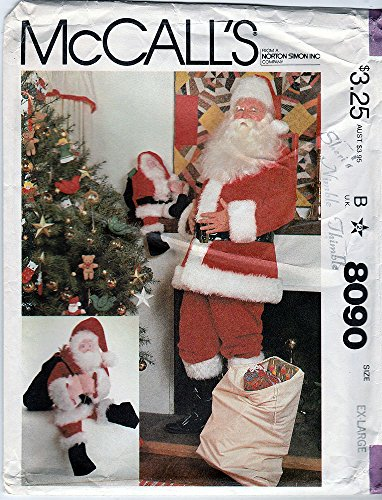 McCall's 8090 sewing pattern makes Men's Santa Suit size Extra Large, Santa Sack, and Santa Doll