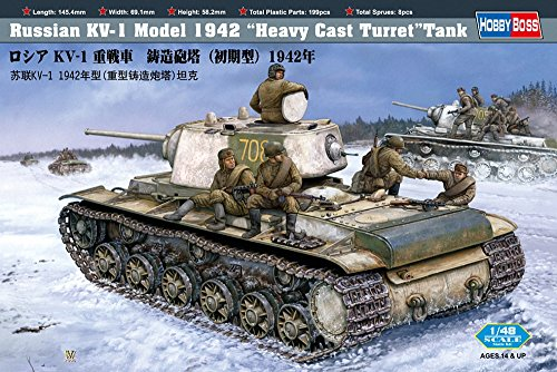 Hobby Boss Russian KV-1 Model 1942 Tank with Heavy Cast Turret Vehicle Model Building (Cast Turret Tank)