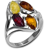 Multicolor Amber Sterling Silver Ring