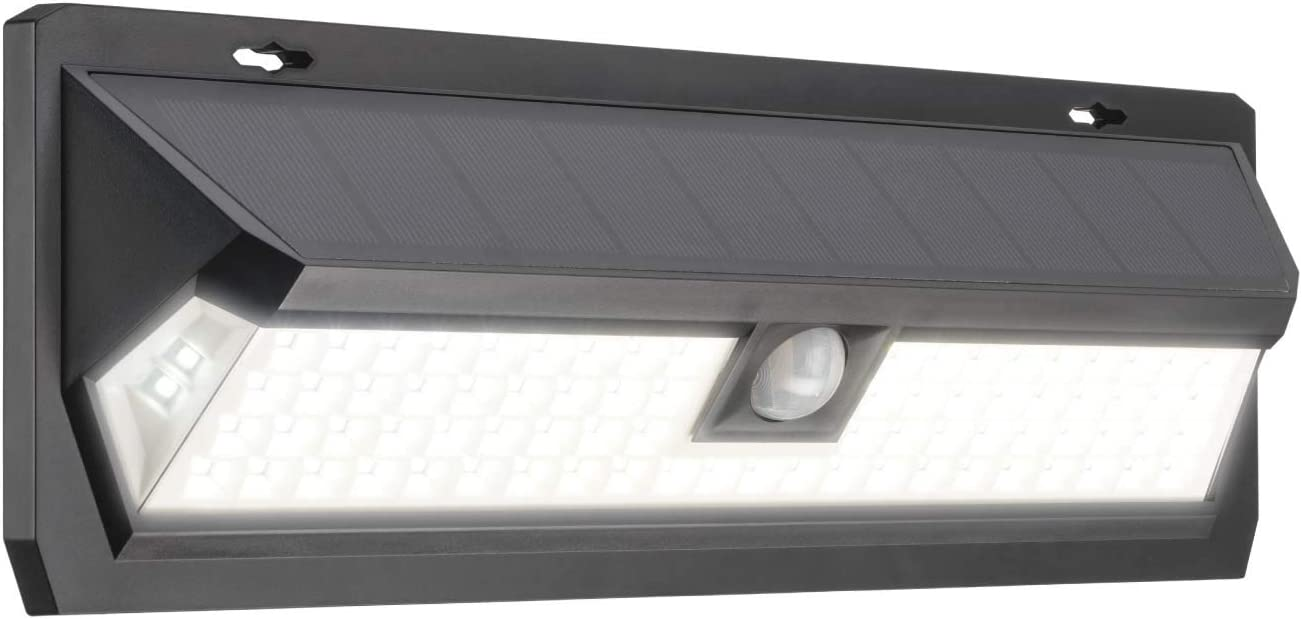 Mr Beams Solar Wedge Max 80 LED Security Outdoor Motion Sensor Wall Light, 1 Pack, Black