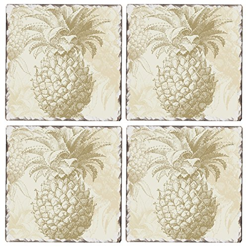 Cala Home Set of 4 Tumbled Tile Coasters, Williamsburg Gracious Pineapple ()