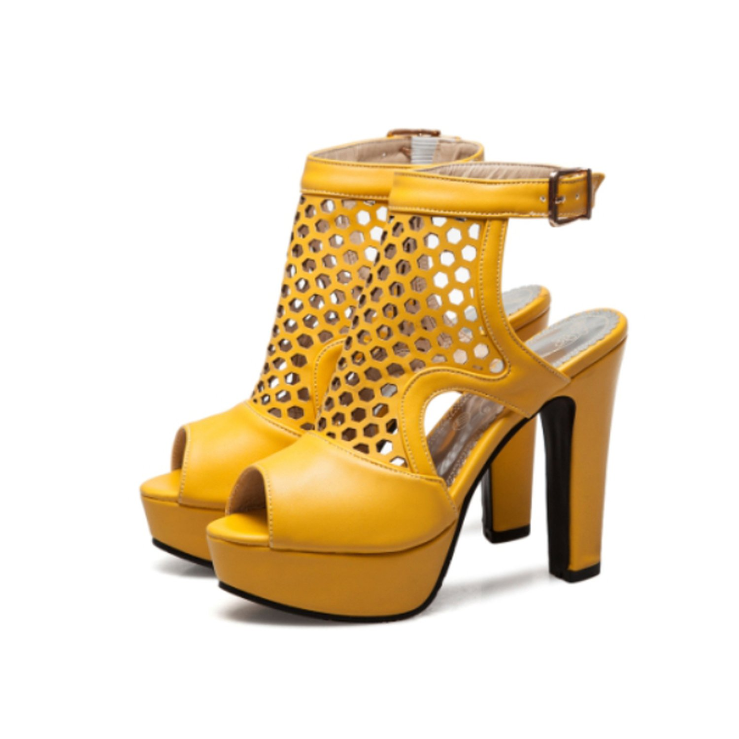 Women Sandals Size 34-43 Cut-Outs Back Buckle Strap High Square Heel Peep Toe Womens Shoes