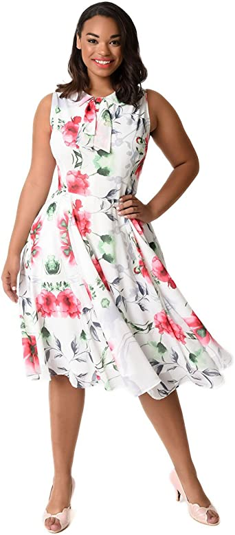 Unique Vintage Plus Size 1940s White & Pink Floral ...