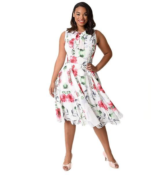Unique Vintage Plus Size 1940s White & Pink Floral ...