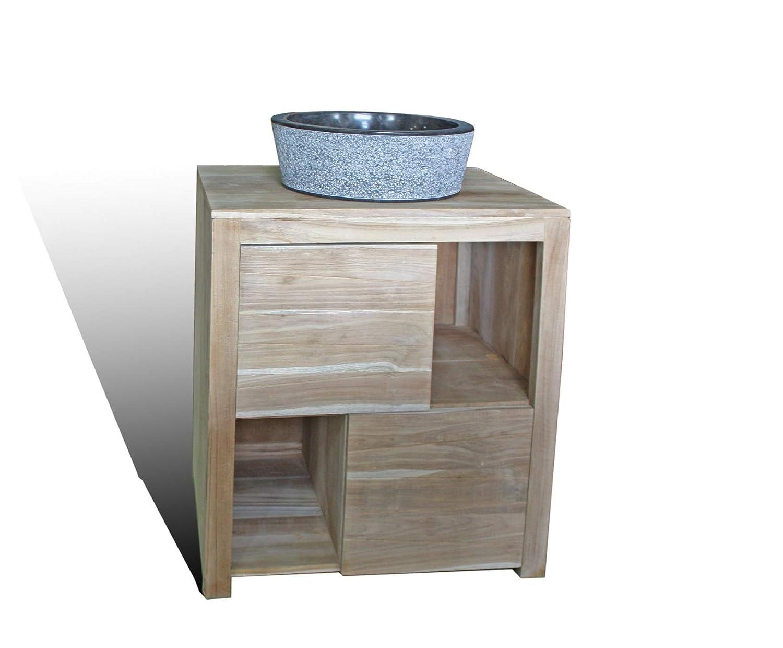 Tayasia Conjunto Mueble de baño Madera de teka y Lavabo de marmol ...