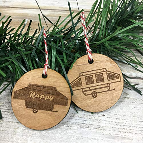 Pop Up Camper and Happy Camper set of two Christmas Ornaments