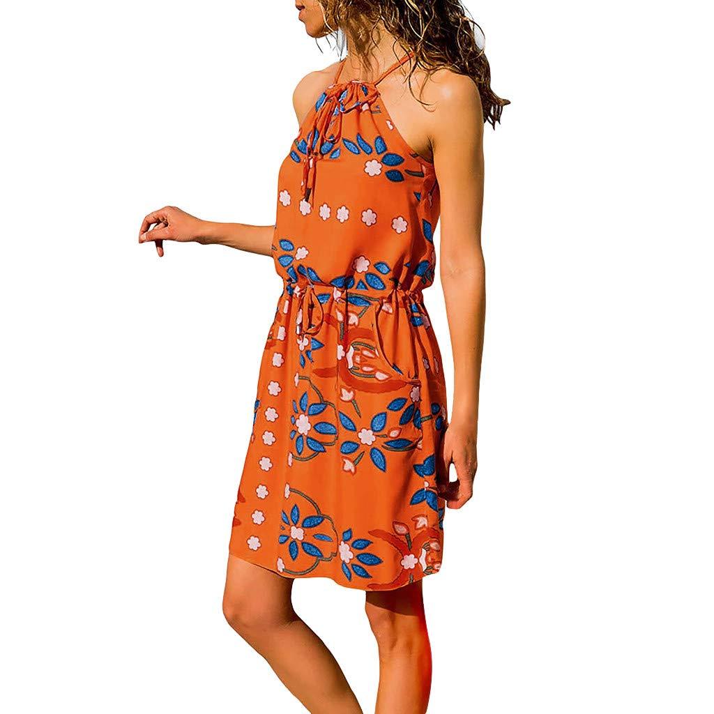 Hattfart Womens Summer Printed Sleeveless Dress Straps Boho Mini Sundress with Pockets (M, Orange)