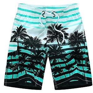 Zainafacai Fashion Coconut Printed Beach Pants-Men's Summer Beachwear Quick Dry Striped Board Shorts Plus Size