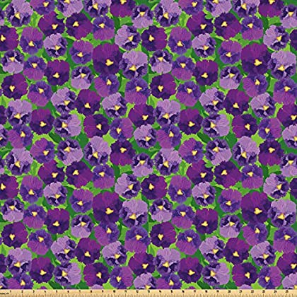 Image of Ambesonne Botanical Fabric by The Yard, Green Field Full of Burgeoning Pansy Inflorescence Garden Flourish Bedding Plants, Microfiber Fabric for Arts and Crafts Textiles & Decor, 10 Yards, Multicolor Home and Kitchen