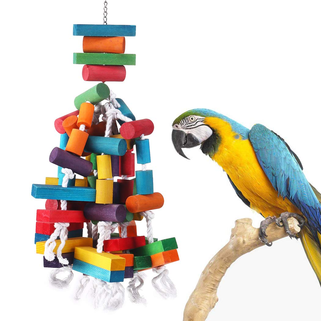 KINTOR Bird Chewing Toy Large Medium Parrot Cage Bite Toys African Grey Macaws Cockatoos Eclectus Amazon (26.5inch Long) by KINTOR