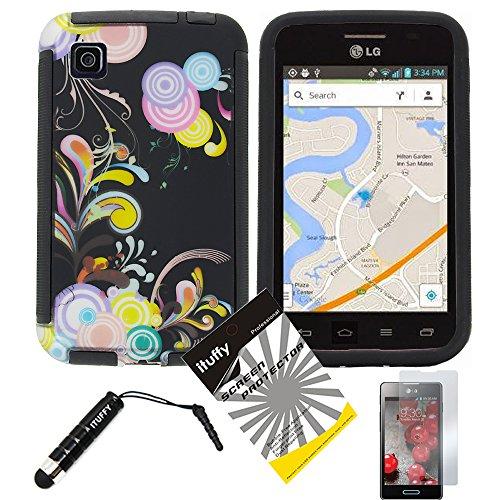 3 items Combo: ITUFFY (TM) LCD Screen Protector Film + Mini Stylus Pen + Design Wrap-Up Cover Faceplate Skin Phone Case for LG Optimus Dynamic II LG39C L39C (Net 10, StraightTalk, Tracfone) (Black Color Vine - Black)