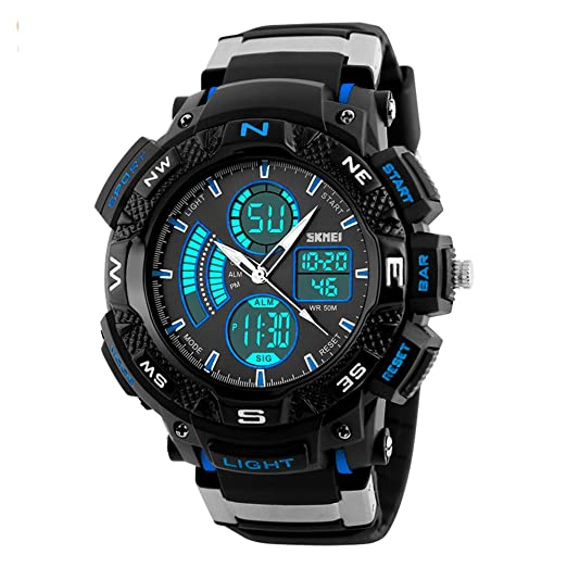 cdfe160ff8b9 amstt Hombres Joven Digital Reloj de pulsera infantil resistente al agua  silicona Alarma Reloj de pulsera Sport Reloj  Amazon.es  Relojes