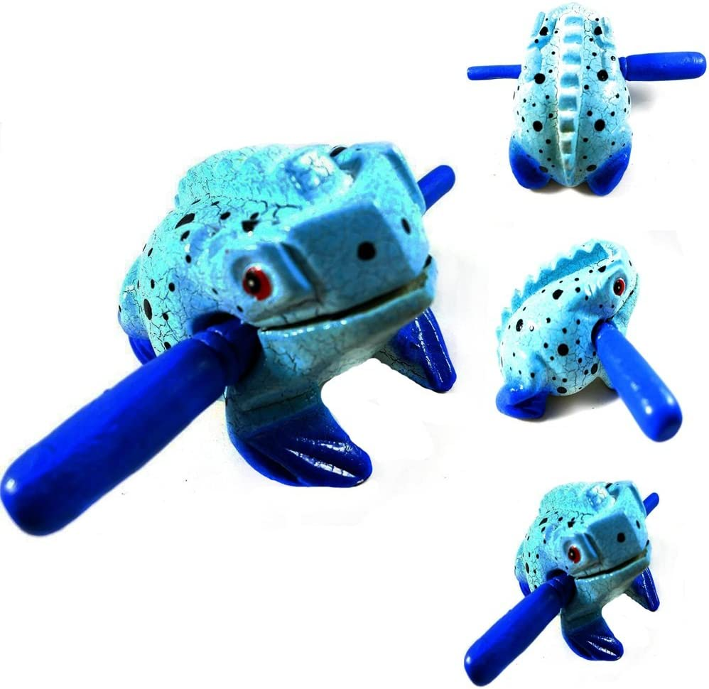 3Thailand Hand Carved Wooden Frog Guiro Rasp Croaking Sound Toy Musical instruments Tone Block Fun for all Ages-Sky Blue