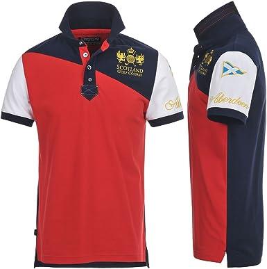 Polo - Aberdeen Polo - Red-Marine-White - S: Amazon.es: Ropa y ...