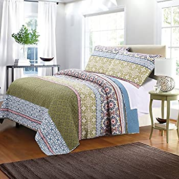 Lovely Greenland Home 3 Piece Shangri La Quilt Set, Full/Queen