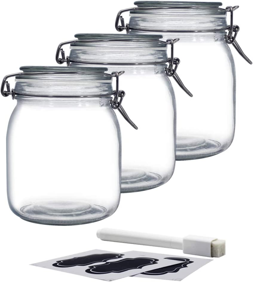 YEBODA 32oz Food Storage Canister Glass Jars with Clamp Airtight Lids and Silicone Gaskets for Multi-Purpose Kitchen Containers - Clear Square (3 Pack)