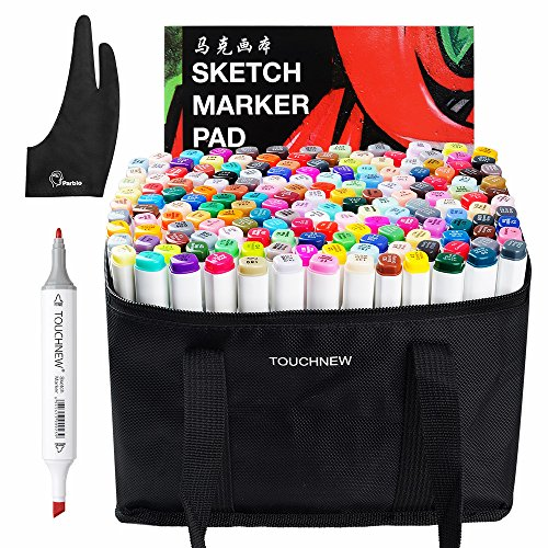 168 Set Color TOUCHNEW Graphic Drawing Painting Alcohol Art Dual Tip Sketch Pen Twin Marker Design Coloring Highlighting Set with Carry Bag +A4 Drawing Book + Parblo Glove by TOUCHNEW