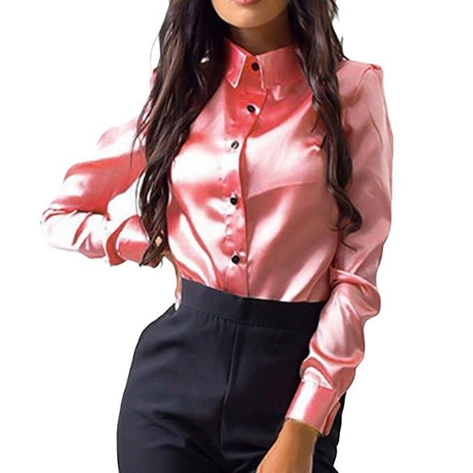 Siswong Blusas Raso Cuello de Solapa Elegantes Casual Mujer de Manga Larga Camisas Formales Oficina Juveniles