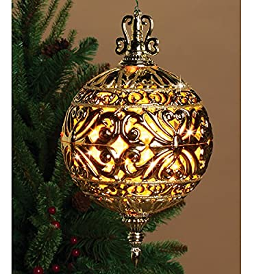6 Inch Lighted Filigree Ball Christmas Ornament Indoor Outdoor Decor - Prelit