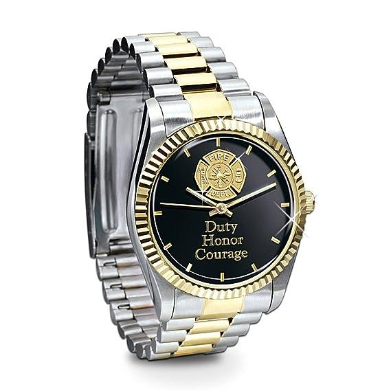 Acero inoxidable reloj Regalo para bomberos BOMBEROS: 24 K chapado en oro Acentos y Cruz